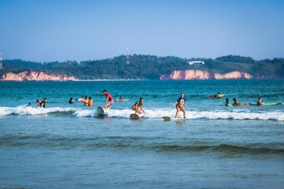 Surfers in Weligama