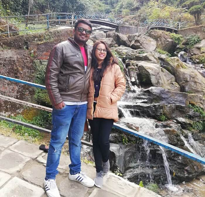 with the scenic beauty of waterfall