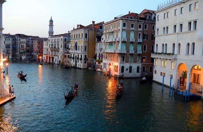 Canale Grande Gondolas Rialto Bridge Venice Italy