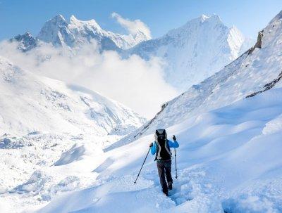 A trekker trekking in Nepal