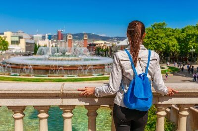 woman looking at the view in Barcelona