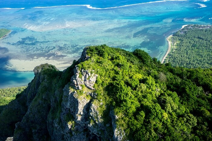 aerial view of Le Morne Brabant in Mauritius