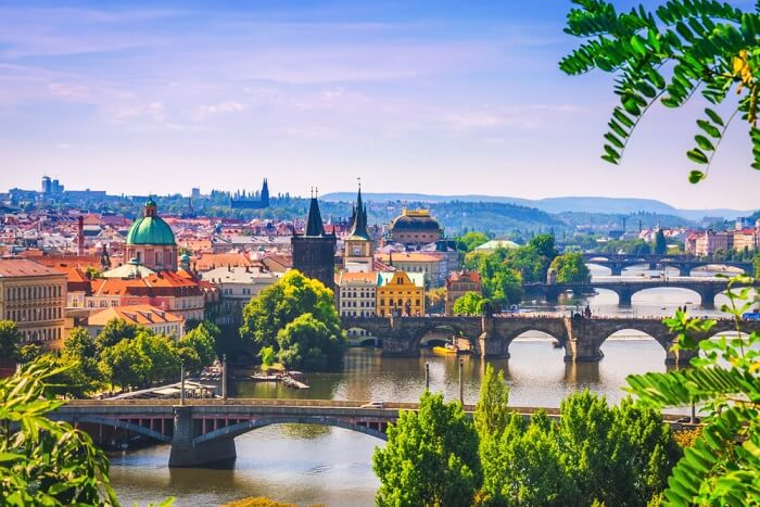 view of Prague city during summer