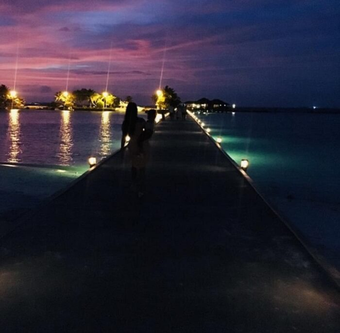 night view of the beautiful resort