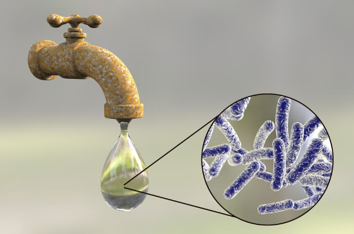 Infected tap water