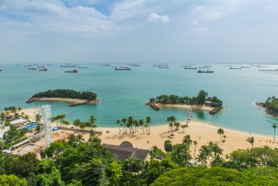 View of Sentosa island from air